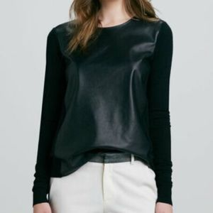 $378 Vince Black merino Wool Knit Lamb Leather Top